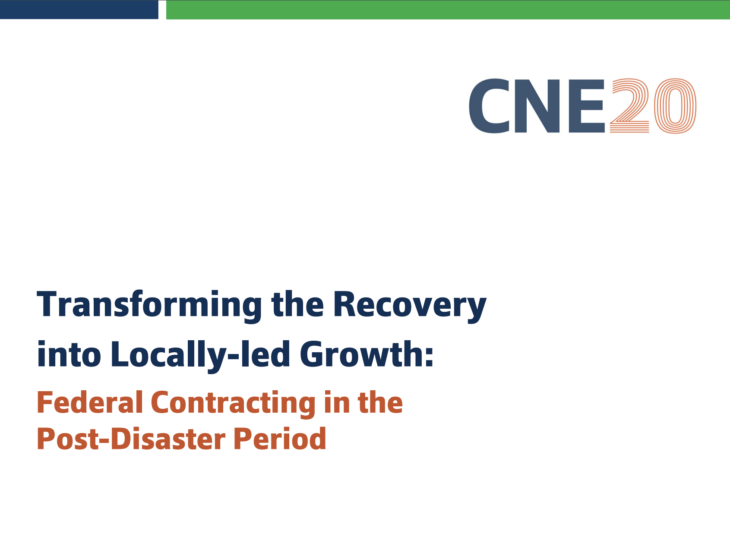 Transforming the Recovery into Locally-led Growth: Federal Contracting in the Post-Disaster Period